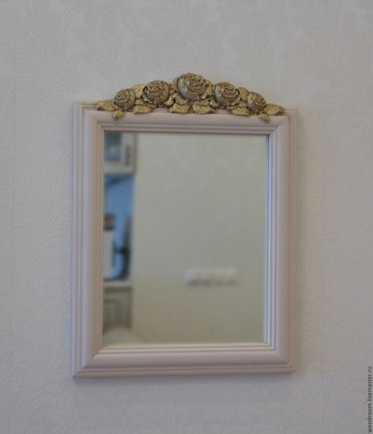 Зеркала ручной работы. Ярмарка Мастеров - ручная работа. Купить Резное зеркало с розами. Прованс.. Handmade. Бежевый, коричневый, прованс