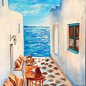 Картины и панно ручной работы. Ярмарка Мастеров - ручная работа Картина маслом  Греция , море , счастье. Handmade.