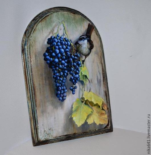 """Кухня ручной работы. Ярмарка Мастеров - ручная работа. Купить Доска-панно """"Гроздь винограда"""". Handmade. Серый, дерево, подарок"""
