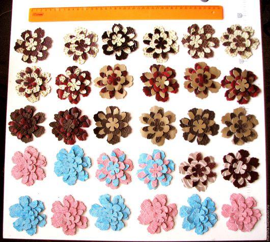 Аппликации, вставки, отделка ручной работы. Ярмарка Мастеров - ручная работа. Купить Цветы из кожи, 52 элемента.. Handmade. Комбинированный