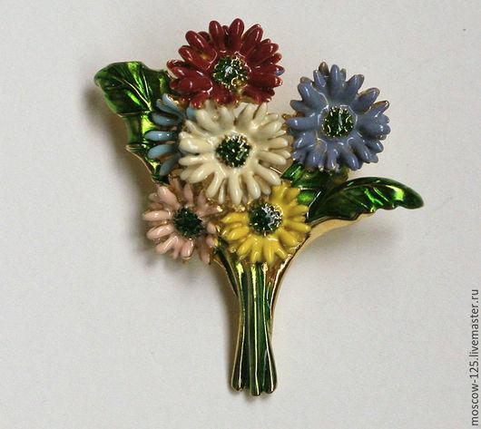 Винтажные украшения. Ярмарка Мастеров - ручная работа. Купить MFA Винтажная коллекционная брошь  «Герберы». Handmade. Комбинированный, брошь цветок