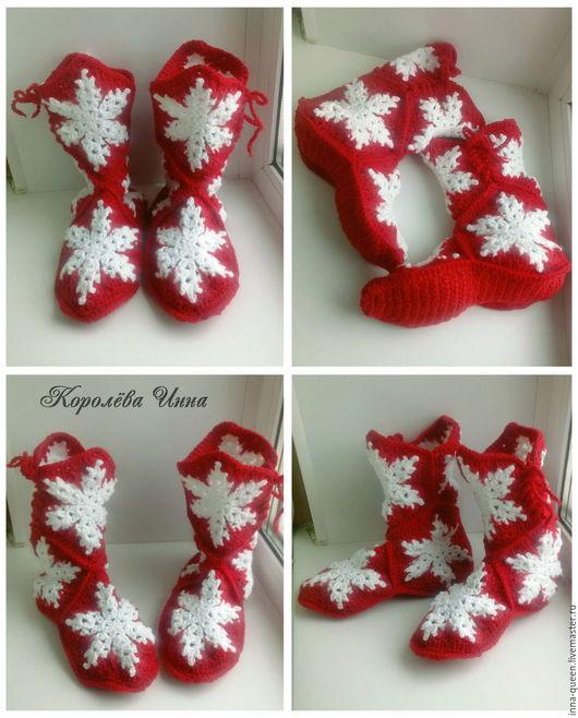 домашние сапожки Снежинки в красном