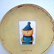 Тарелки ручной работы. Ярмарка Мастеров - ручная работа Тарелки: Кот счастье. Handmade.