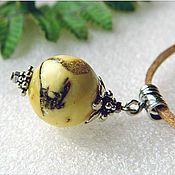 """Украшения handmade. Livemaster - original item Янтарь. Кулон """"Белый шар"""" янтарь серебро. Handmade."""