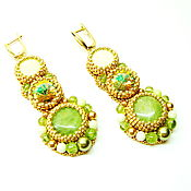 Украшения handmade. Livemaster - original item gold long earrings with green stones and swarovski spring ball. Handmade.