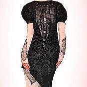 Одежда ручной работы. Ярмарка Мастеров - ручная работа Платье - туника  черно-белая  ( 4 предмета ). Handmade.