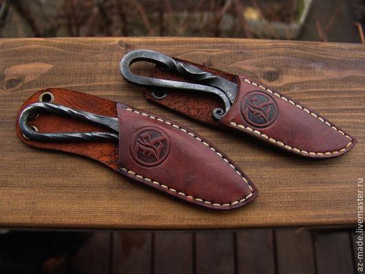 Оружие ручной работы. Ярмарка Мастеров - ручная работа. Купить Нож кованый куябрик. Handmade. Рыжий, кожа, кожа