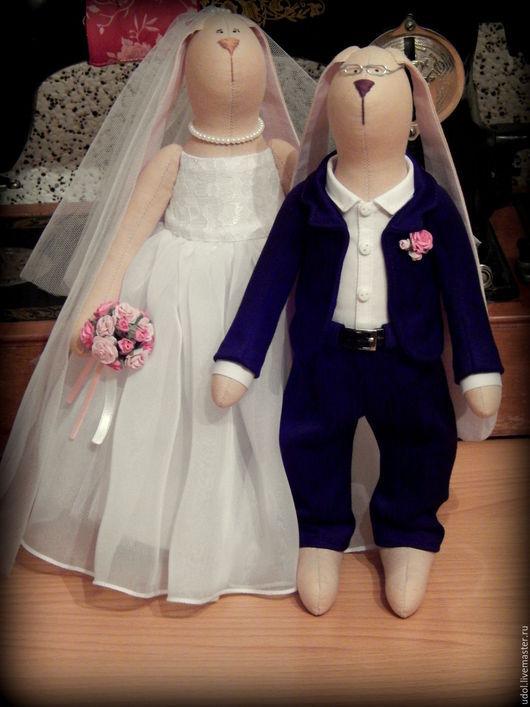 Куклы Тильды ручной работы. Ярмарка Мастеров - ручная работа. Купить Свадебные зайцы. Handmade. Заяц, хлопок 100%, батист
