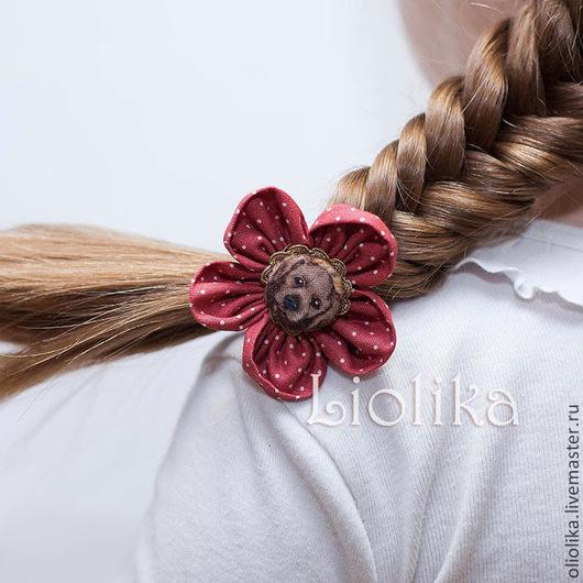 Детская бижутерия ручной работы. Ярмарка Мастеров - ручная работа. Купить Резинка для волос с собачкой. Handmade. Бордовый, красное украшение