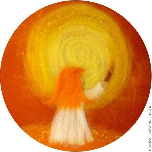 Репродукции ручной работы. Ярмарка Мастеров - ручная работа. Купить Я рисую Солнце - 3D картина из шерсти. Handmade. Рыжий