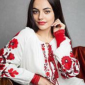 """Одежда ручной работы. Ярмарка Мастеров - ручная работа Вышитая блуза туника вышиванка """"Красные птички"""" красная ручная вышивка. Handmade."""