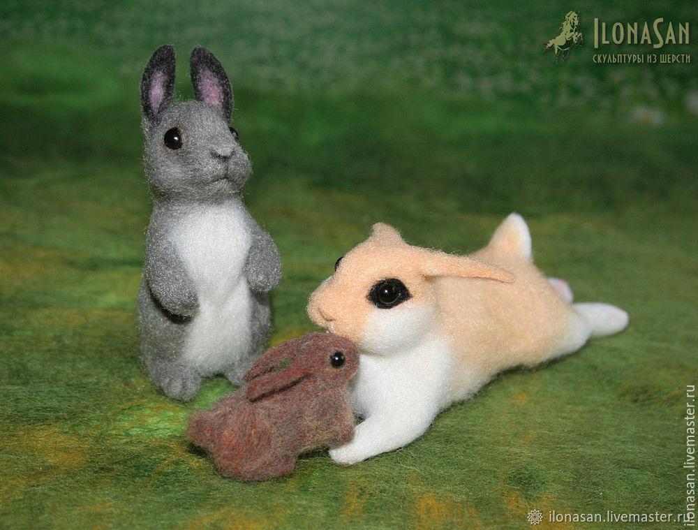 Зайцы-кролики (сухое валяние), Войлочная игрушка, Владивосток,  Фото №1