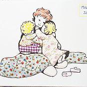 """Картины и панно ручной работы. Ярмарка Мастеров - ручная работа Картина в лоскутной технике """"Мама и дети. Поцелуй перед сном"""". Handmade."""