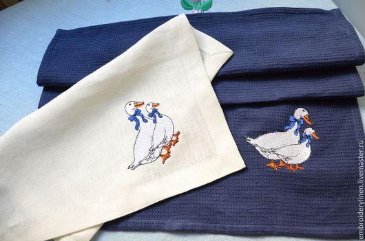 """Текстиль, ковры ручной работы. Ярмарка Мастеров - ручная работа. Купить Комплект для кухни """" Гуси"""". Handmade. Белый"""