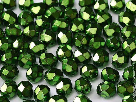 Для украшений ручной работы. Ярмарка Мастеров - ручная работа. Купить Бусины 4мм чешские стеклянные Heavy Metal Green. Handmade.