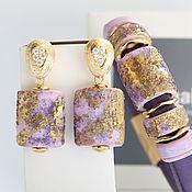 """Украшения ручной работы. Ярмарка Мастеров - ручная работа Комплект """"Violet"""" браслет и серьги. Handmade."""