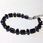 Украшения handmade. Livemaster - original item Bracelet with black onyx and spinel in silver. Handmade.