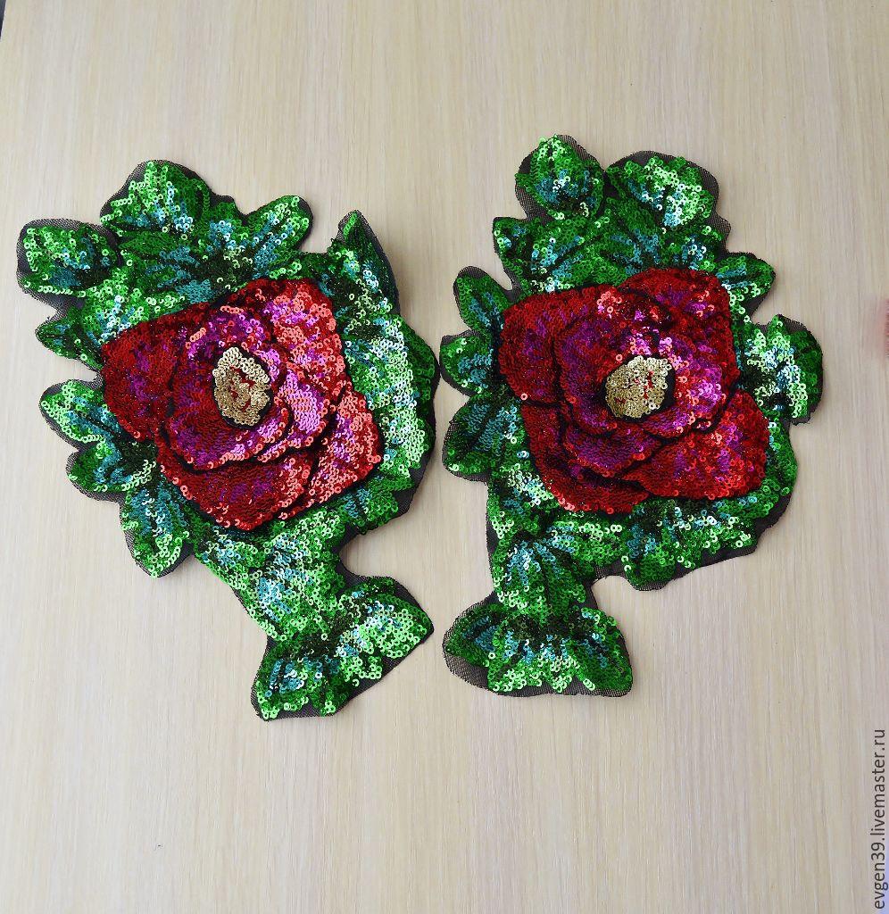 Роза вышивка пайетками