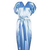 Одежда ручной работы. Ярмарка Мастеров - ручная работа Вечернее платье голубой лёд длинное из атласа c V-образным вырезом. Handmade.