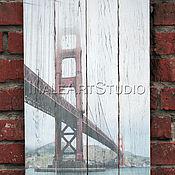 Картины и панно handmade. Livemaster - original item La pintura en los tablones del puente Golden Gate (Puente Golden Gate). Handmade.