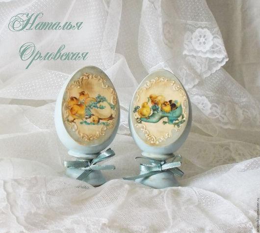 """Подарки на Пасху ручной работы. Ярмарка Мастеров - ручная работа. Купить Пасхальные яйца """"Голубой винтаж"""". Комплект.. Handmade. Голубой"""