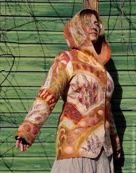 """Пиджаки, жакеты ручной работы. Ярмарка Мастеров - ручная работа. Купить Валяный жакет """"Специи"""". Handmade. Рыжий, специи"""