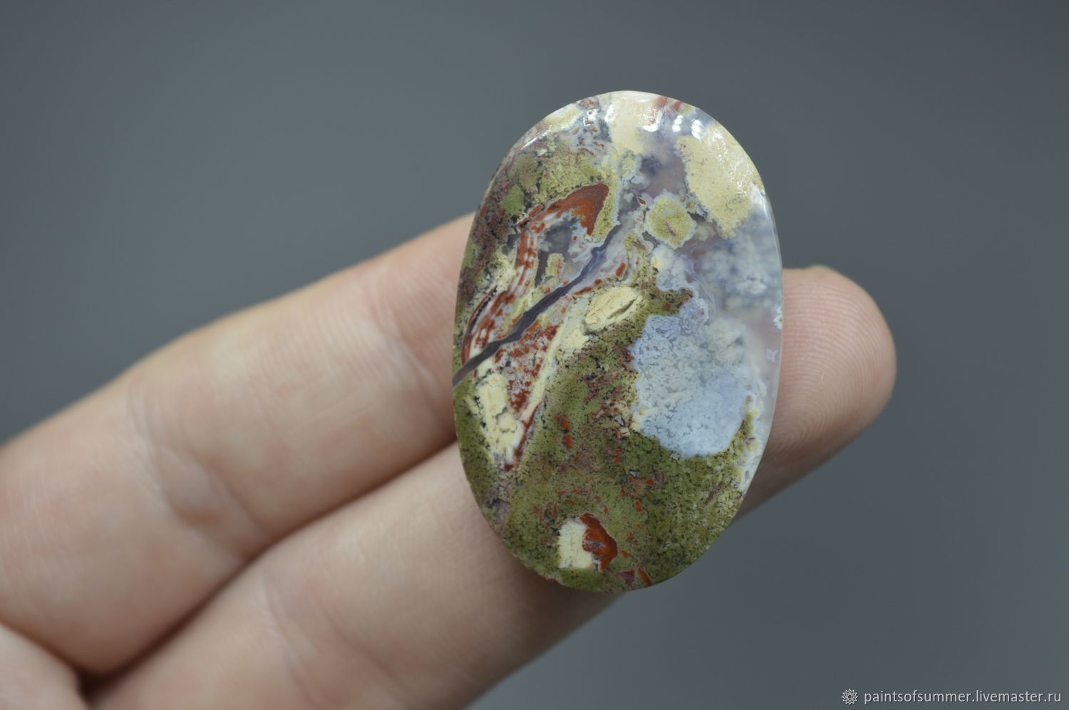 moss agate. Cabochon 37h24h5, Cabochons, Moscow,  Фото №1