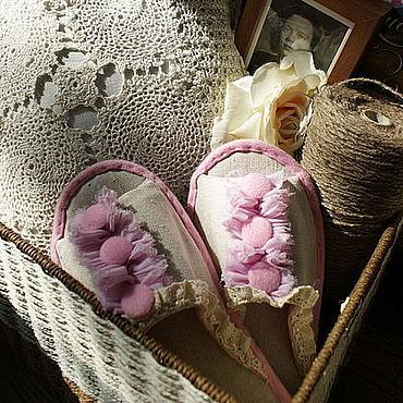 """Обувь ручной работы. Ярмарка Мастеров - ручная работа Тапочки """"Девичья нежность"""". Handmade."""
