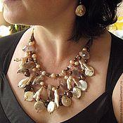 Колье ручной работы. Ярмарка Мастеров - ручная работа Колье из восьми сортов жемчуга с кристаллами  аметиста. Handmade.