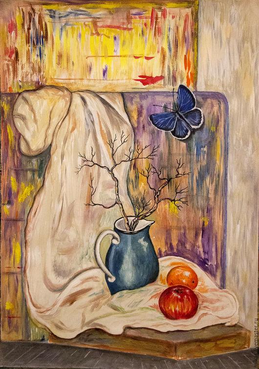 Натюрморт ручной работы. Ярмарка Мастеров - ручная работа. Купить В МАСТЕРСКОЙ ХУДОЖНИКА. Handmade. Комбинированный, ваза, фрукты, гуашь
