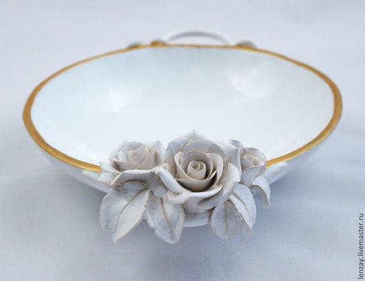 Супница `Белая с золотом`. Керамические цветы Елены Зайченко