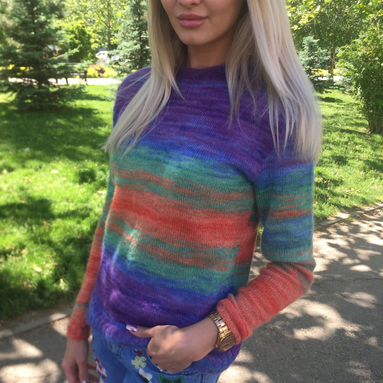 Вязание свитера из мохера регланом