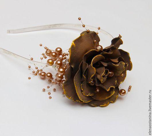 """Диадемы, обручи ручной работы. Ярмарка Мастеров - ручная работа. Купить Ободок """"Шоколадное золото"""". Handmade. Коричневый, ободок для волос"""