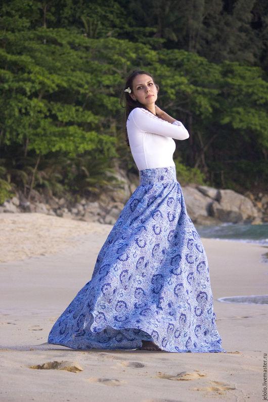 """Юбки ручной работы. Ярмарка Мастеров - ручная работа. Купить Юбка длинная """"Синий бриз"""". Handmade. Комбинированный, юбка в пол"""