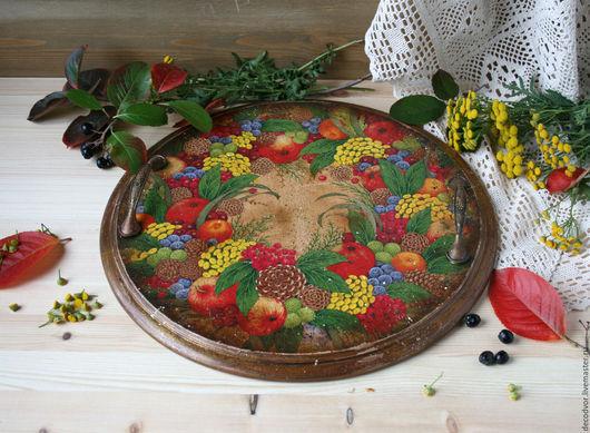 """Кухня ручной работы. Ярмарка Мастеров - ручная работа. Купить Поднос """" Осенний венок"""". Handmade. Разноцветный, круглый поднос"""