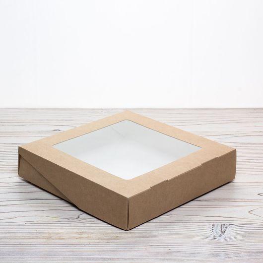 Упаковка ручной работы. Ярмарка Мастеров - ручная работа. Купить Коробка 20х20х4 крафт с окошком и ламинацией самосборная. Handmade. Упаковка