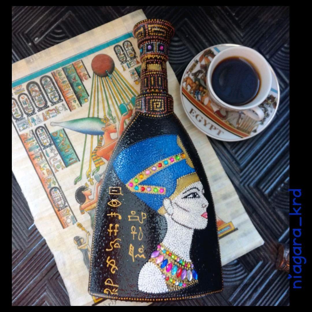 Бутылка под горячительное, расписанная в технике точечная роспись, Аксессуары, Краснодар, Фото №1