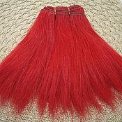 Материалы для творчества handmade. Livemaster - original item Hair pieces natural mohair (goat) red 1 meter. Handmade.