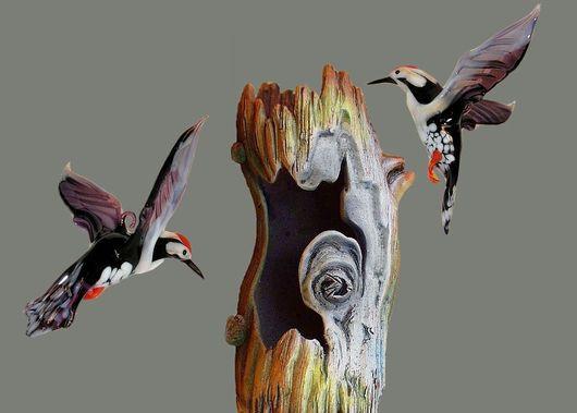 Interior Items handmade. Livemaster - handmade. Buy Interior hanging decoration stained glass bird Woodpecker.Bird, design