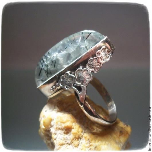 """Кольца ручной работы. Ярмарка Мастеров - ручная работа. Купить Кольцо """"Сакура"""" с пренитом. Handmade. Мятный, серебряное кольцо"""