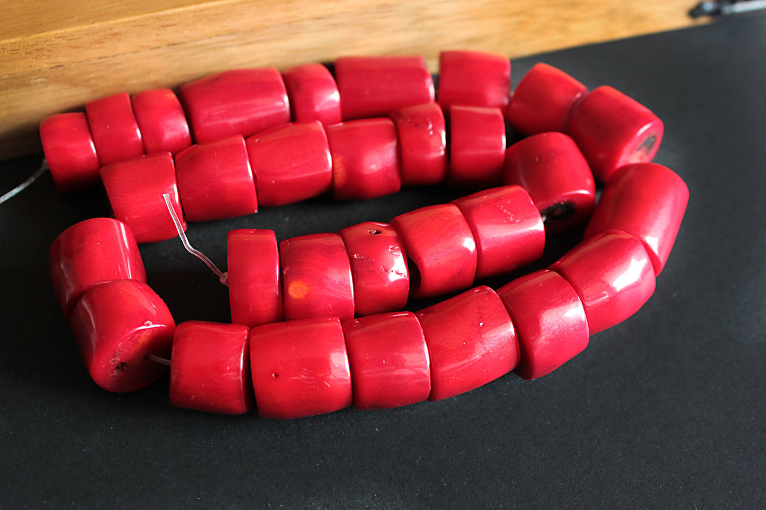 Beads large coral Bamboo red thread 20 cm, Beads1, Bryansk,  Фото №1
