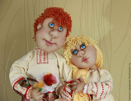 """Коллекционные куклы ручной работы. Ярмарка Мастеров - ручная работа. Купить Куклы """" У плетня"""". Handmade. Пара, текстиль"""