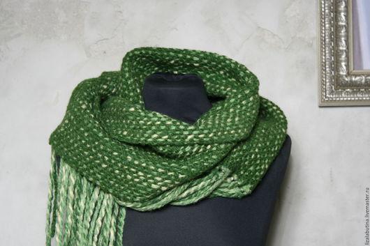 """Шарфы и шарфики ручной работы. Ярмарка Мастеров - ручная работа. Купить Шарф тканый """"Зелень"""". Handmade. Тёмно-зелёный, валяный"""