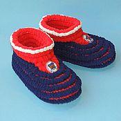 handmade. Livemaster - original item Knitted shoes Slippers plush, Slippers soles. Handmade.