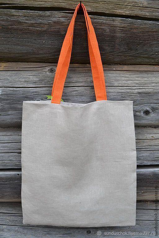 """Летняя эко-сумка """"Оранжевое настроение"""" (100 % лен)"""