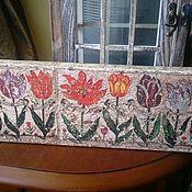 Картины и панно ручной работы. Ярмарка Мастеров - ручная работа Панно деревянное настенное 11 тюльпанов (из книги 17 в). Handmade.