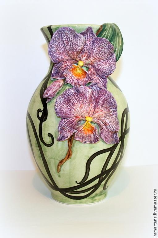 """Вазы ручной работы. Ярмарка Мастеров - ручная работа. Купить Ваза фарфоровая """"Орхидеи"""". Handmade. Сиреневый, интерьер, лепка"""