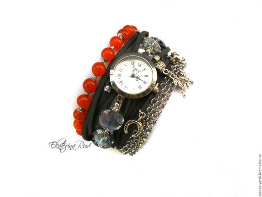 """Часы ручной работы. Ярмарка Мастеров - ручная работа. Купить Часы наручные """"Время странствий"""" серый, оранжевый. Handmade."""