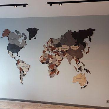 Для дома и интерьера ручной работы. Ярмарка Мастеров - ручная работа Элементы интерьера: Карта мира Объемная 3D. Handmade.