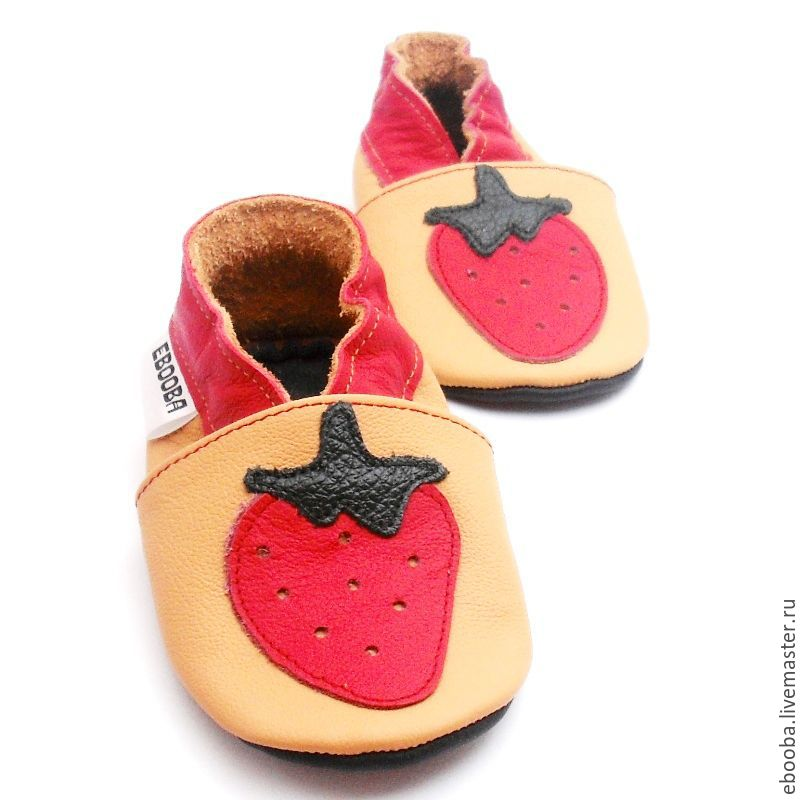 soft sole baby shoes leather handmade infant gift kids  strawberry red yellow ebooba
